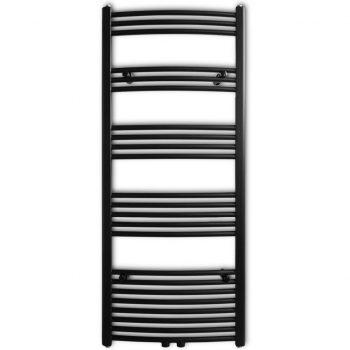 Črn Kopalniški Cevni Radiator za Centralno Ogrevanje 600 x 1424 mm