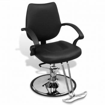 Črn profesionalni brivski stol iz umetnega usnja