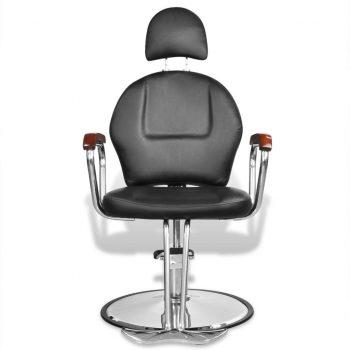 Črn profesionalni brivski stol iz umetnega usnja z naslonom za glavo