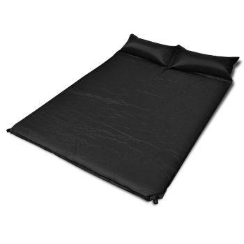 Črna samo napihljiva blazina 190 x 130 x 5 cm (dvojna)