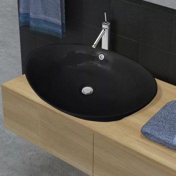 Črni Luksuzni Keramični Umivalnik Ovalni z Izlivanjem 59 x 38