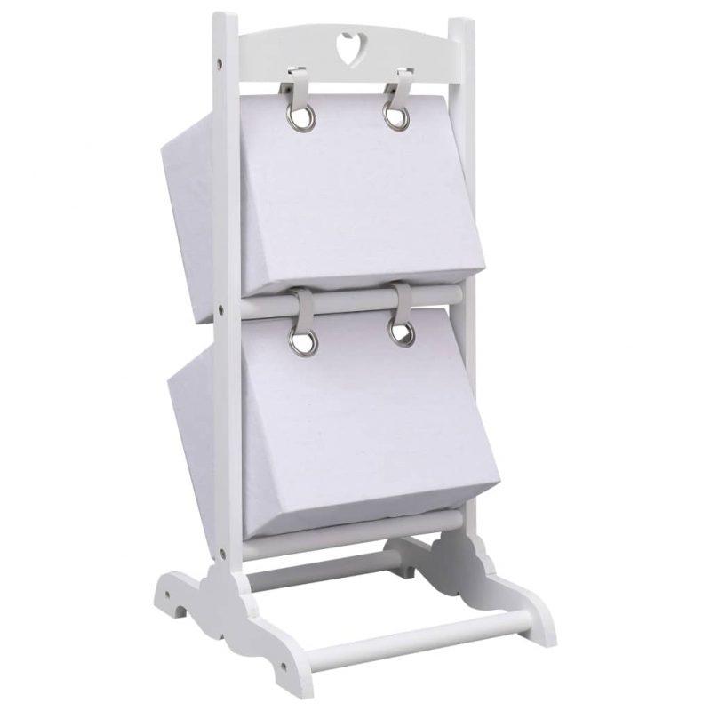 2-nadstropno stojalo s košarami belo 35x35x72 cm les