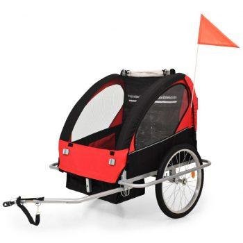 2-v-1 Otroška kolesarska prikolica in voziček črn in rdeč