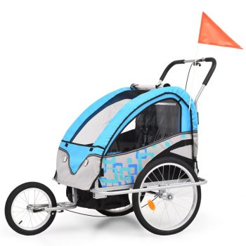2-v-1 Otroška kolesarska prikolica in voziček moder in siv