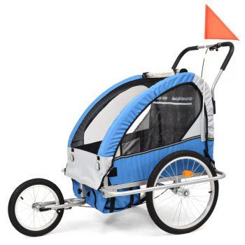 2-v-1 Otroška kolesarska prikolica in voziček modra in siva
