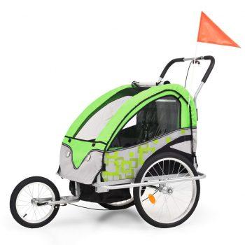 2-v-1 Otroška kolesarska prikolica in voziček zelena in siva