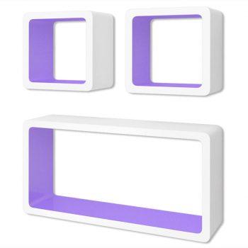 3 Belo-vijoličaste MDF Viseče Stenske Kocke za Knjige/DVD-je