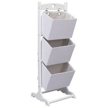3-nadstropno stojalo s košarami belo 35x35x102 cm les