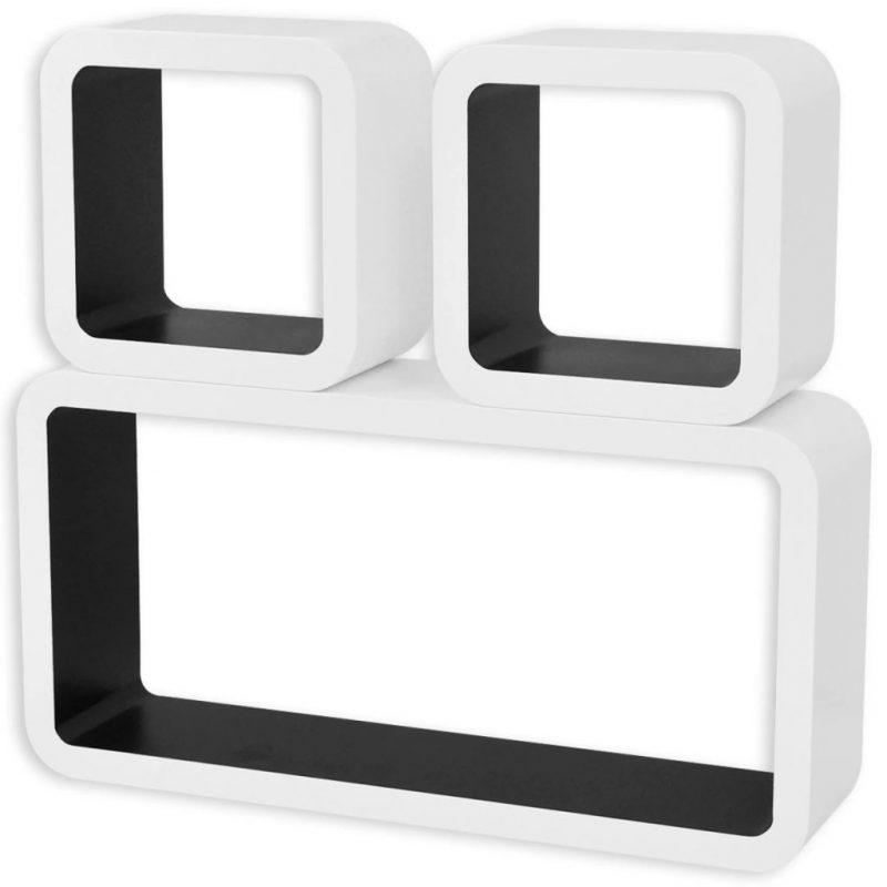 3 x Belo-Črna Viseča Stenska Polica MDF za Shranjevanje Knjig/DVD-jev