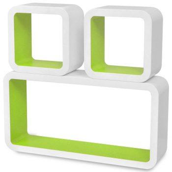 3 x Belo-Zelena Viseča Stenska Polica Kocka za Knjige/DVD-je