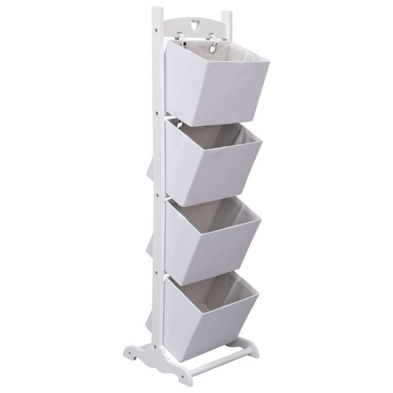 4-nadstropno stojalo s košarami belo 35x35x125 cm les