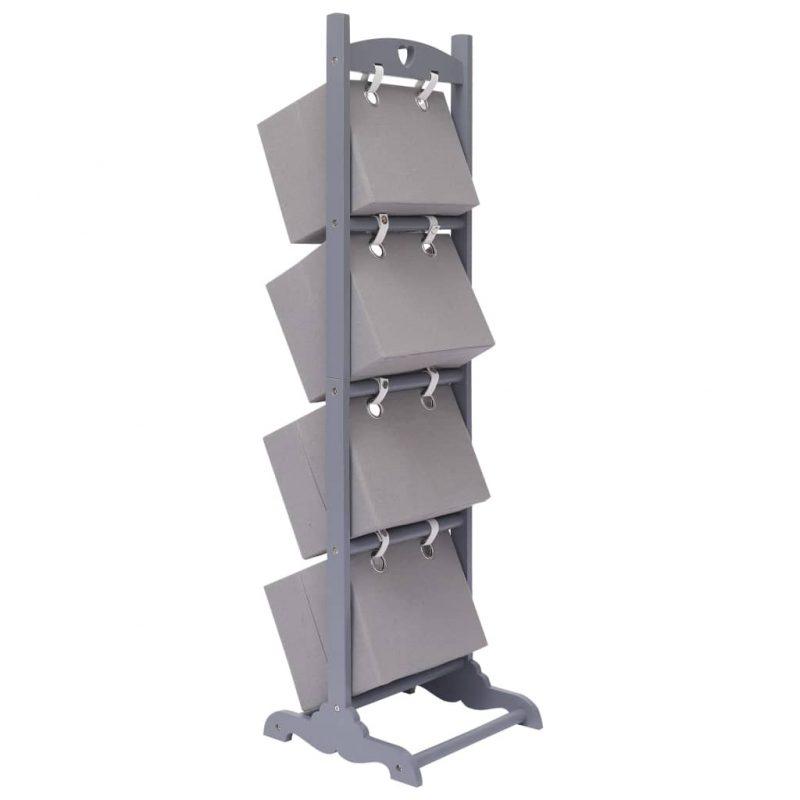 4-nadstropno stojalo s košarami temno sivo 35x35x125 cm les