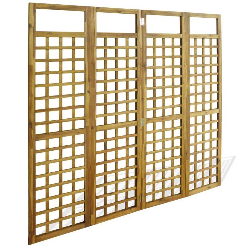 4-panelni delilnik prostora / mreža iz lesa akacije 160x170 cm