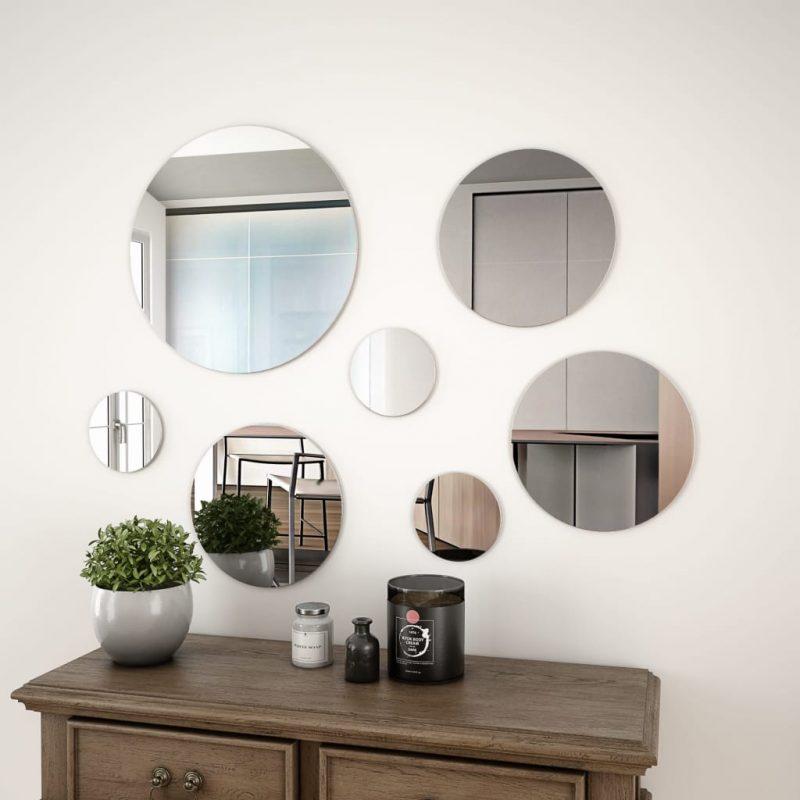 7-delni komplet stenskih ogledal okrogle oblike iz stekla