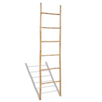 Bambusova lestev za brisače s 6 letvicami