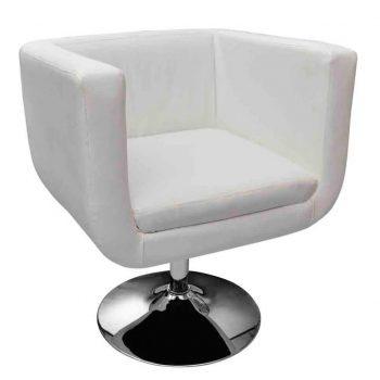 Barski stolček belo umetno usnje
