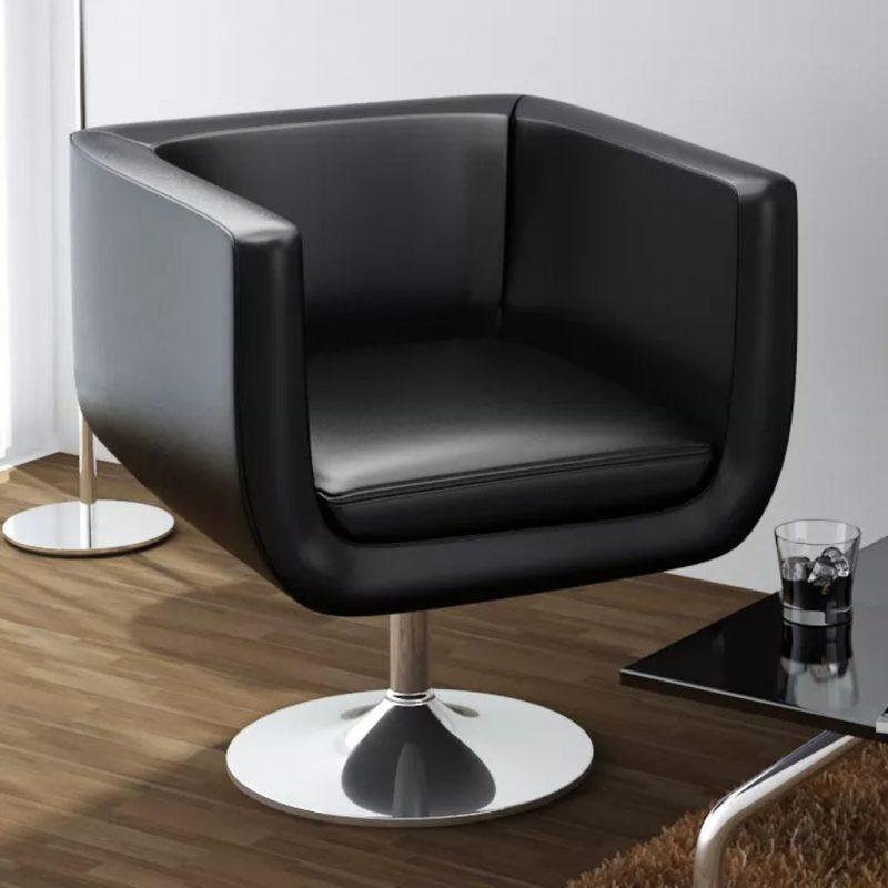 Barski stol črno umetno usnje