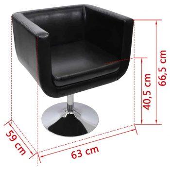Barski stol 2 kosa umetno usnje črne barve