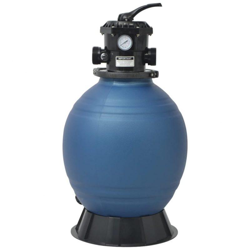 Bazenski peščeni filter s 6-pozicijskim ventilom moder 460 mm