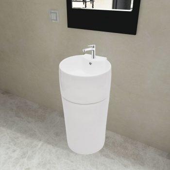 Bel Keramičen Okrogel Stoječi Umivalnik za Kopalnico z Odprtinami