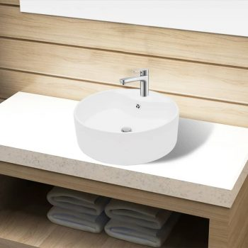 Bel Okrogel Keramični Kopalniški Umivalnik z Odprtino za Pipo in Odtok