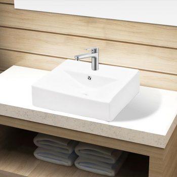 Bel Pravokotni Keramični Umivalnik z Odprtino Proti Prelivanju
