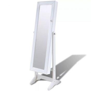 Bela Samostoječa Omarica za Nakit z LED Svetilko in Ogledalom