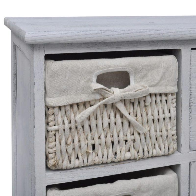 Bela lesena omarica s 3 pletenimi košarami