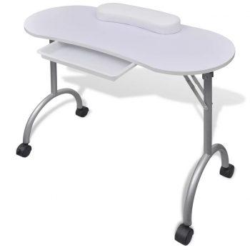 Bela zložljiva mizica za manikuro nohtov s kolesci