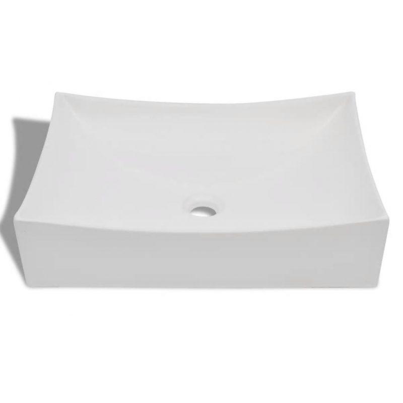 Beli keramični umetniški umivalnik z visokim sijajem