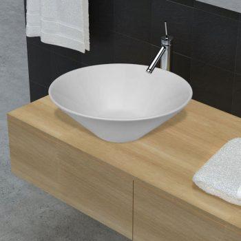 Beli kopalniški keramični umivalnik v obliki sklede