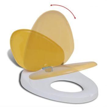 Belo-Rumena WC Deska za Odrasle/Otroke Mehanizem Počasnega Zapiranja