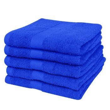 Brisače za roke 5 kosov bombaž 500 gsm 50x100 cm živo modre