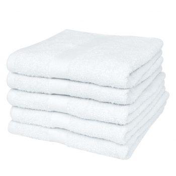 Brisače za roke 5 kosov bombaž 500 gsm 50x100 cm bele