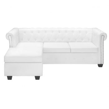 Chesterfield kavč L oblike umetno usnje bele barve