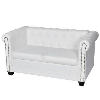 Chesterfield kavč dvosed umetno usnje bele barve