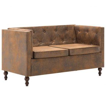 Chesterfield kavč dvosed z oblogo iz blaga rjav videz semiša