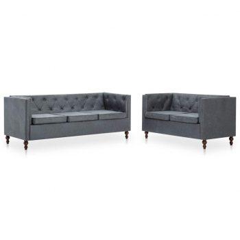 Chesterfield kavča 2 kosa obloga iz blaga siva
