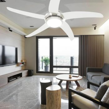Dekorativni stropni ventilator s svetilko 128 cm bel