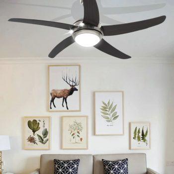 Dekorativni stropni ventilator s svetilko 128 cm rjav