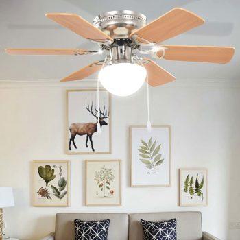 Dekorativni stropni ventilator s svetilko 82 cm svetlo rjav
