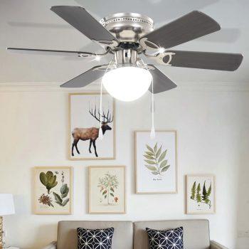Dekorativni stropni ventilator s svetilko 82 cm temno rjav