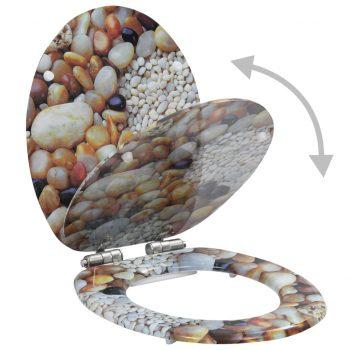 Deska za WC školjko počasno zapiranje MDF dizajn kamenčki