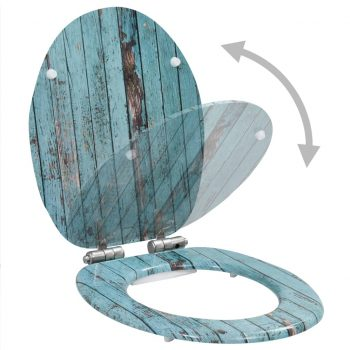 Deska za WC školjko počasno zapiranje MDF dizajn starega lesa