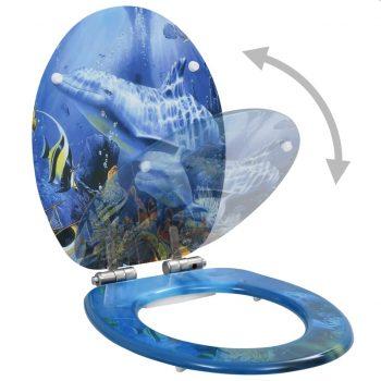 Deska za WC školjko počasno zapiranje MDF dizajn z delfini
