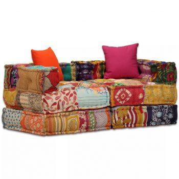 Dvosed modularni kavč z ležičem večbarvni
