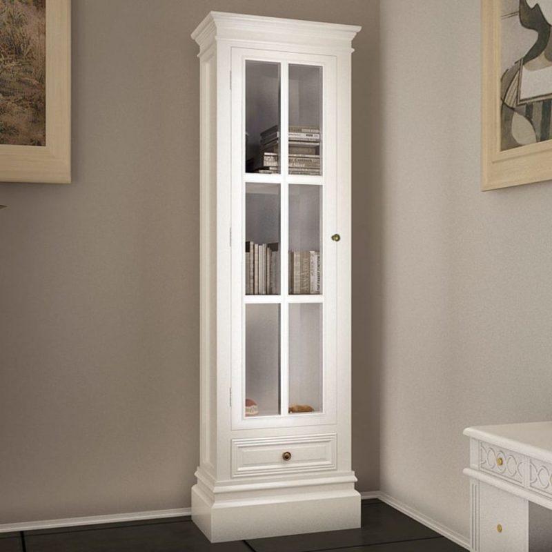 Elegantna knjižna omara s 3 policami bela iz lesa