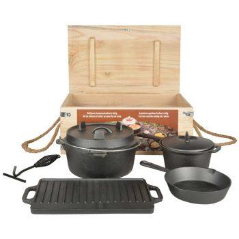 Esschert Design Komplet za kuhanje na ognju 7-delni črn FF240