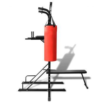 Fitnes naprava Power Tower s klopjo in boksarsko vrečo