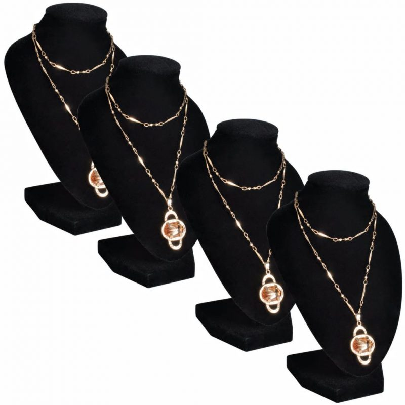 Flanelasto stojalo za ogrlice črno 9 x 8